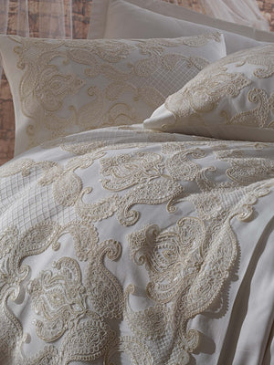 SATIN COTTON BEDDING BRIDE SET WITH FANCY GUIPURE DESIGN - COTTONISH