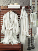 8PCS EMBROIDERY DECORATED BAMBOO BATHROBE FAMILY SET WITH FRENCH GUIPURE - COTTONISH