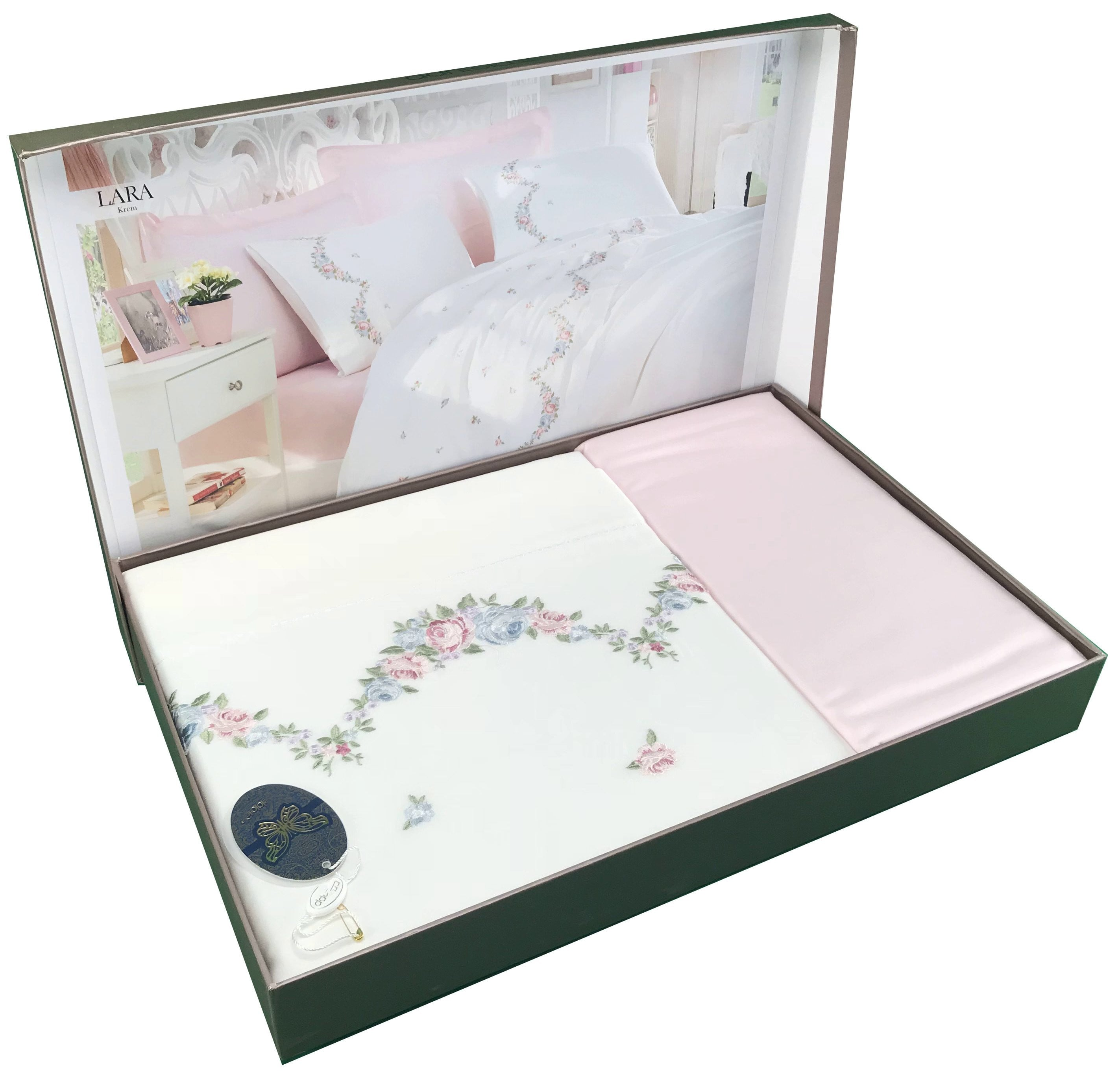 6 Pieces Embroidery Floral Lining Bedding Set