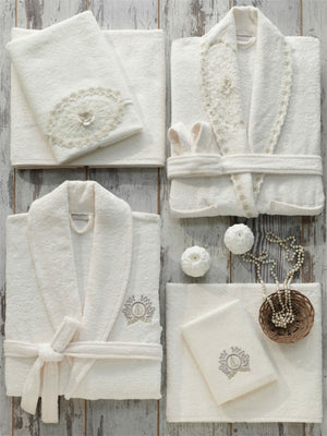 8PCS ELEGANT BAMBOO BATHROBE FAMILY SET WITH FRENCH GUIPURE - COTTONISH