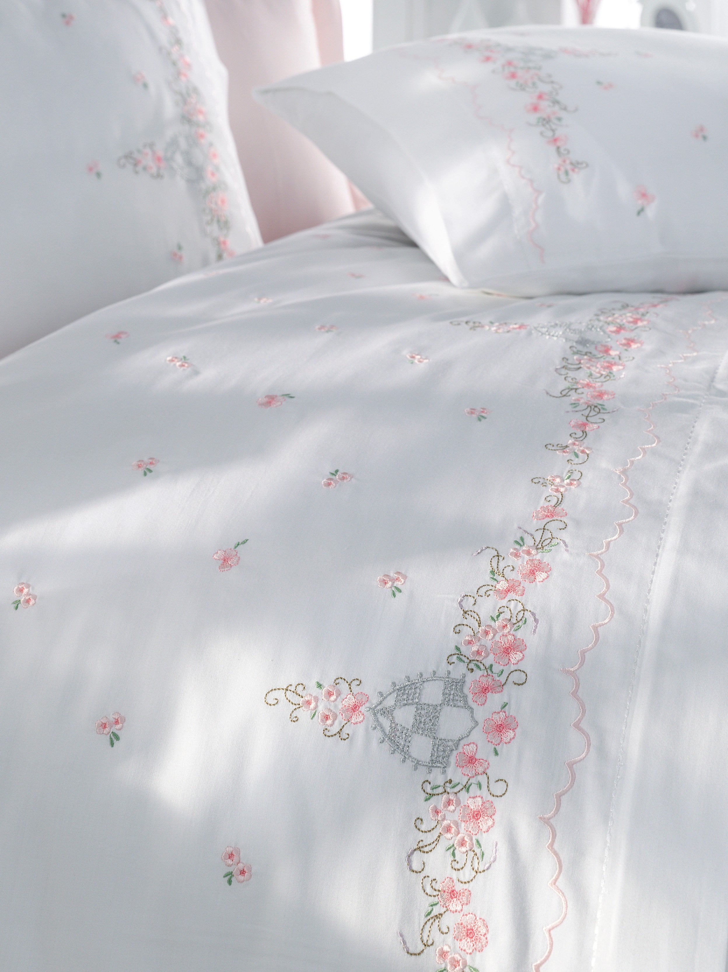PREMIUM QUALITY SATIN COTTON DUVET COVER SET WITH EMBROIDERY - COTTONISH