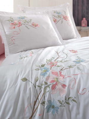 EMBROIDERY DESIGNED HIGH QUALITY SATIN COTTON BEDDING SET - COTTONISH