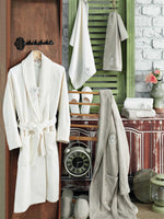 8PCS 3D FLOWER EMBROIDERY DECORATED BAMBOO BATHROBE FAMILY SET - COTTONISH