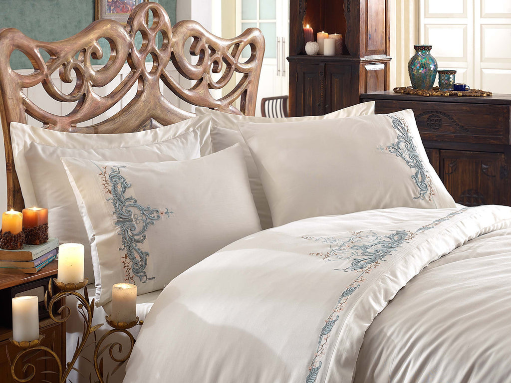 EMBROIDERY DECORATED COTTON SATIN BEDDING SET - COTTONISH
