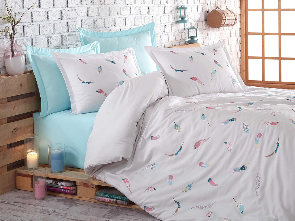 EMBROIDERY DESIGNED BEST SATIN COTTON FABRICS DUVET COVER SET - COTTONISH