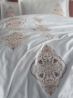 STUNNING EMBROIDERY DECORATED COTTON SATIN BEDDING SET - COTTONISH