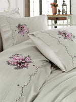EMBROIDERY DECORATED BEST QUALITY COTTON SATIN BEDDING SET - COTTONISH