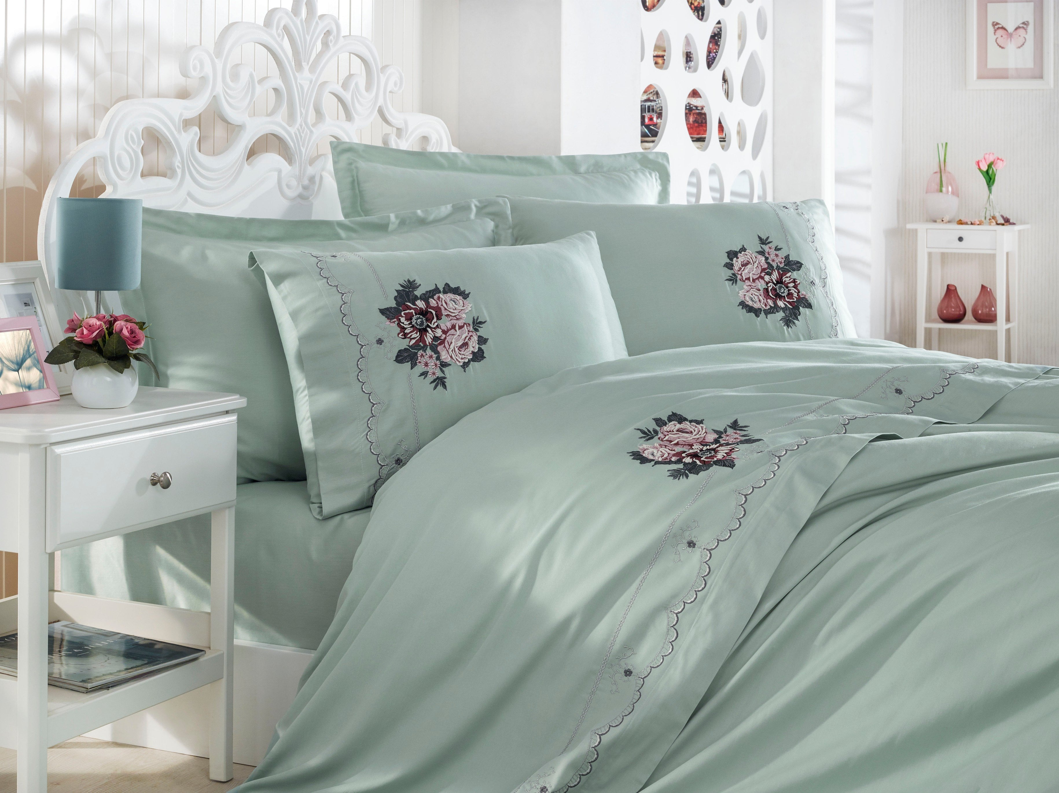EMBROIDERY DECORATED BEST QUALITY COTTON SATIN DUVET COVER SET - COTTONISH