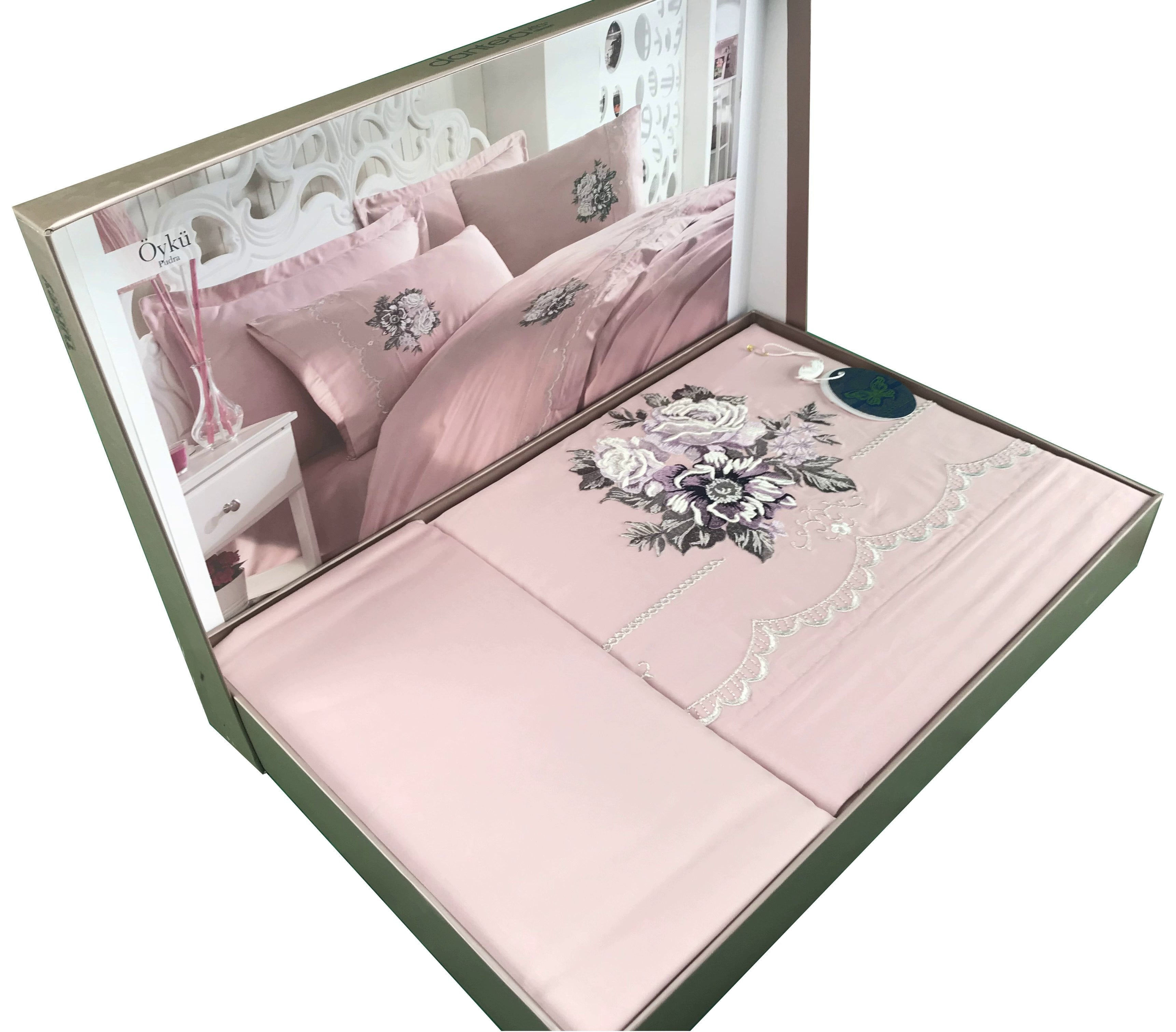 Luxury 6 Pieces Bedding Set in Mint with Large Embroidered Flowers