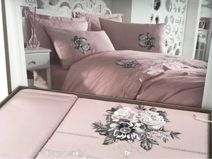Cream Colour Bedding Set: 1 bed sheet, 1 duvet cover, 4 pillow cases