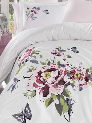 HIGH QUALITY SATIN COTTON BEDDING SET WITH LARGE FLOWERS EMBROIDERY DESIGN - COTTONISH