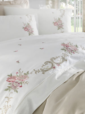 FINE SATIN COTTON BEDDING SET WITH EMBROIDERY DESIGN - COTTONISH