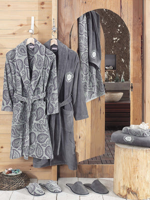 8PCS ELEGANT PRINTED YARN & VELVET COTTON BATHROBE FAMILY SET - COTTONISH