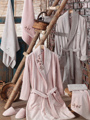8PCS BAMBOO BATHROBE FAMILY SET WITH 3D FLOWER EMBROIDERY - COTTONISH
