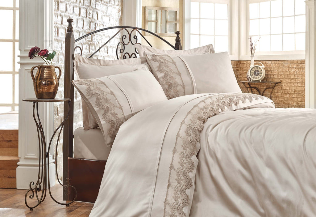 SATIN COTTON BEDDING SET WITH GUIPURE DESIGN - COTTONISH
