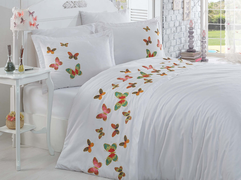 ELEGANT SATIN COTTON BEDDING SET WITH EMBROIDERY DESIGN - COTTONISH