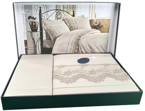 Turkish Made Full Bedding Set Including: Duvet Cover, Bed Sheet, Pillow case and Pillow Shams