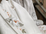 8PCS 3D FLOWERS DESIGNED EMBROIDERIED BAMBOO BATHROBE FAMILY SET - COTTONISH