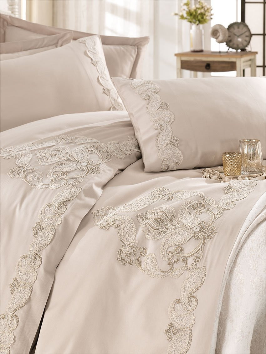 STUNNING GUIPURE DESIGNED SATIN COTTON BEDDING BRIDE SET - COTTONISH