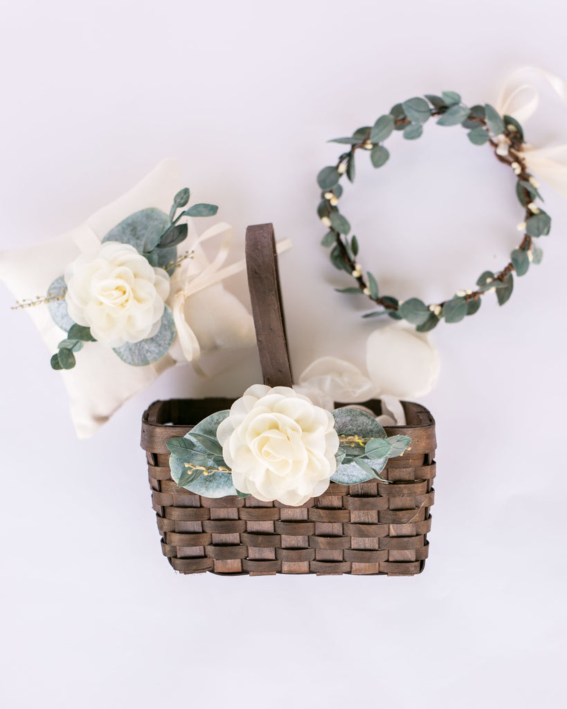 Cecilia, Ari + Quinn | Matching Flower Girl Basket, Crown, & Ring Pillow Set