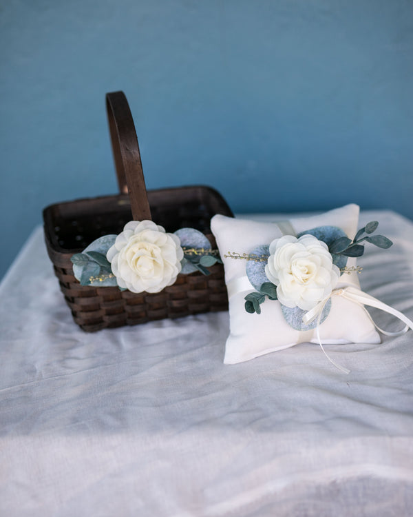 Cecilia & Ari | Flower Girl Basket and Ring Pillow Matching Set