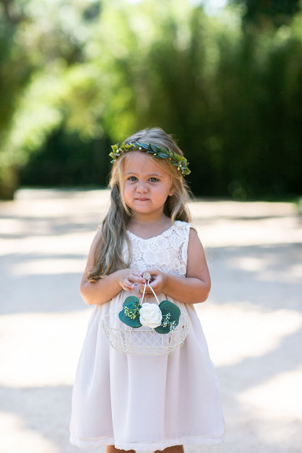 Imani | Petite Ivory Wire Flower Girl Basket