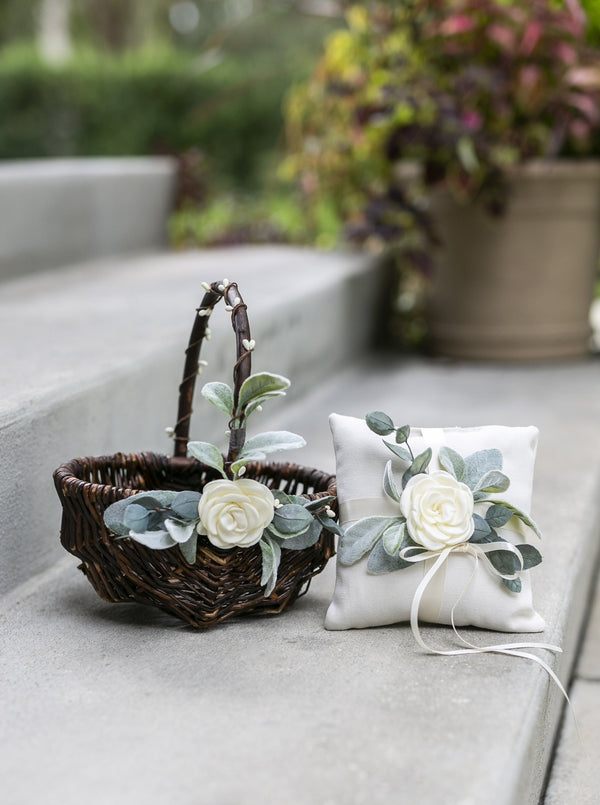 Grace: Flower Girl Basket and Ring Bearer Pillow Set | Willow Wedding Basket Set