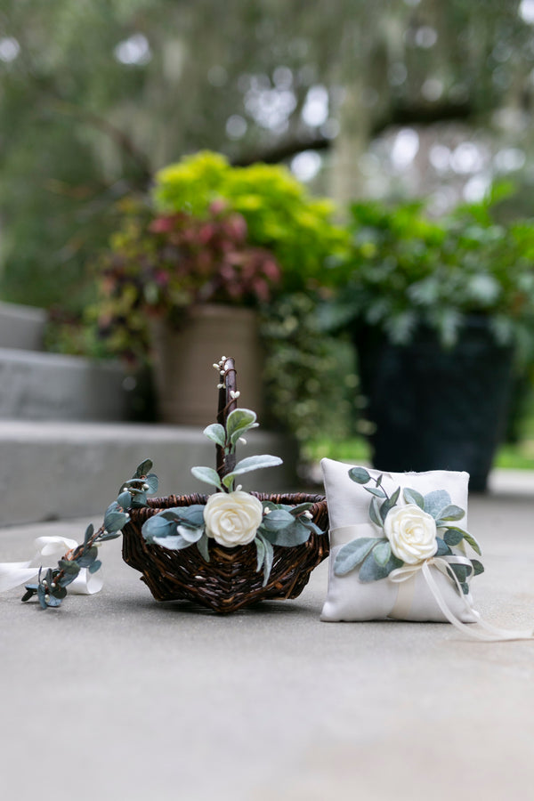 Grace, Sage & Quinn: Willow Flower Girl Basket, Ring Pillow & Crown Set