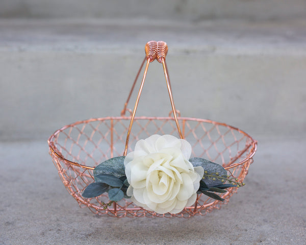 Bella Copper | Rose Gold Flower Girl Basket