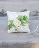 Ring Bearer Pillow - Max Linen-Look, Greenery Decorated Pillow