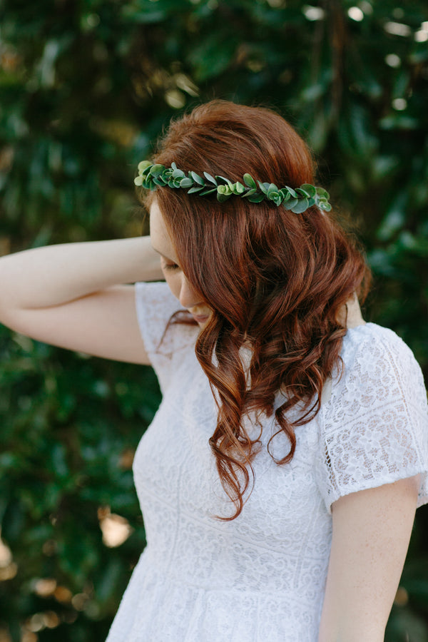 Eucalyptus Greenery Flower Crown | Flower Girl Halo or Bridesmaids Hairpiece by Ragga Wedding