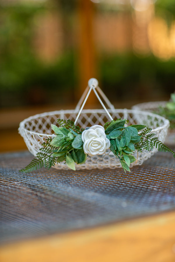 Small Small Ivory Wedding Basket | Flower Girl Baskets by Ragga Wedding