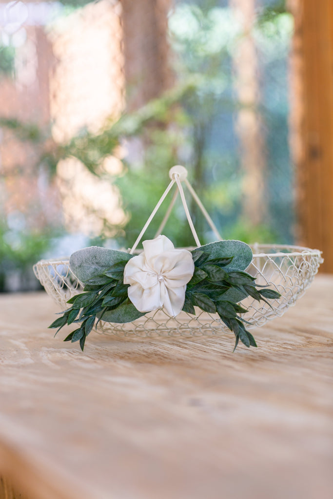 Norah | The Original Ivory Wire Flower Girl Basket
