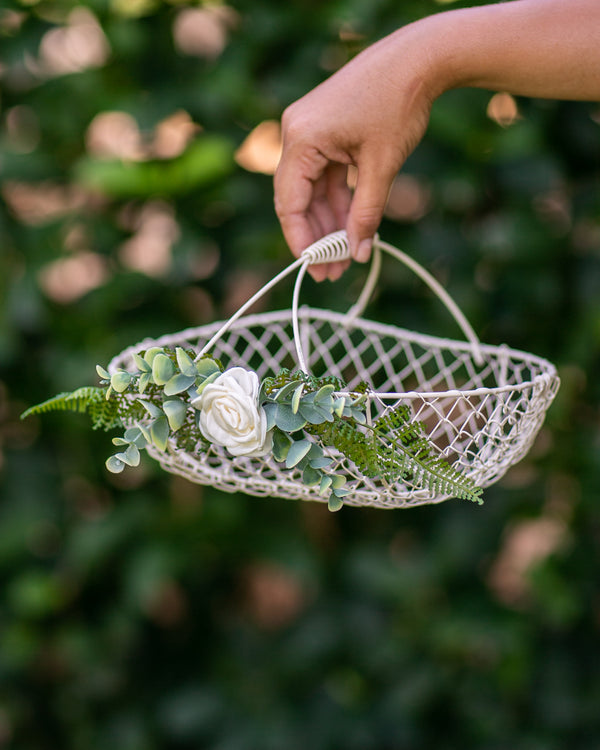 Modern Flower Girl Basket by Ragga Wedding | Ivory Metal Petal Toss Basket