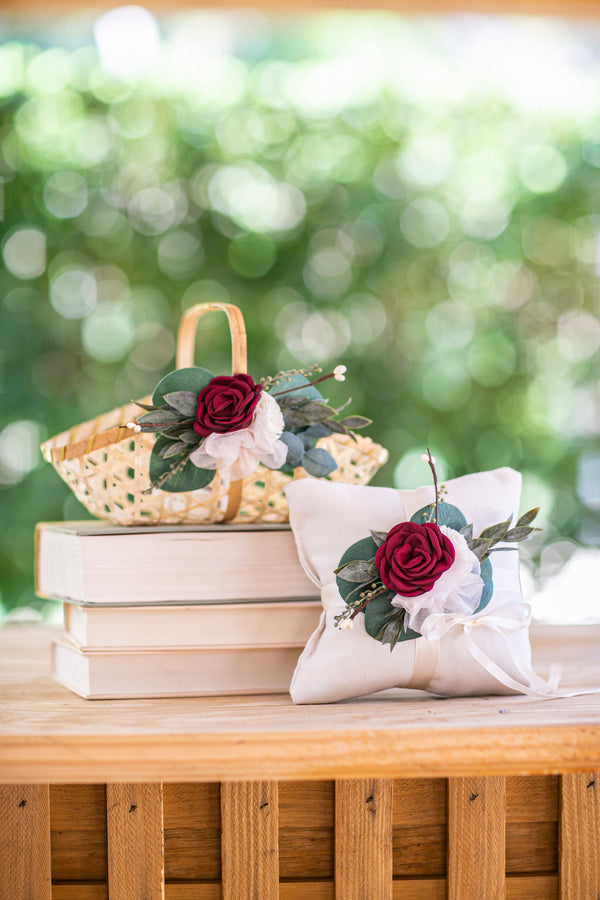 Bohemian Wedding Details | Amelie Flower Girl Basket & Matching Ring Pillow by Ragga Wedding