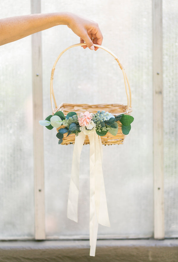 Natural willow flower girl basket | Adelaide by Ragga Wedding