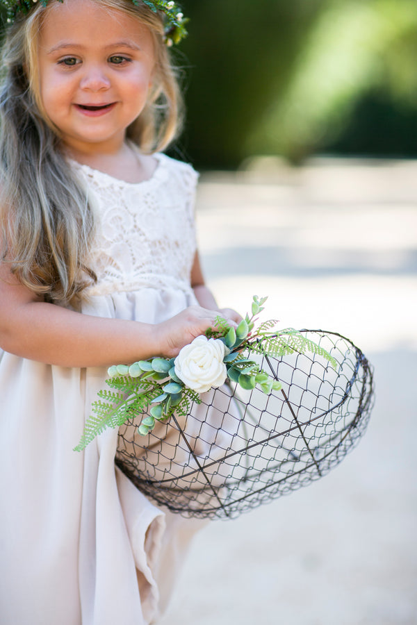 Matching Flower Girl Basket and Ring Pillow Set