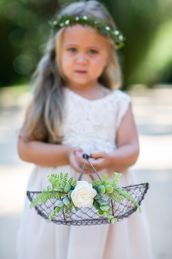 Rustic Copper Wire flower girl basket by Ragga Wedding