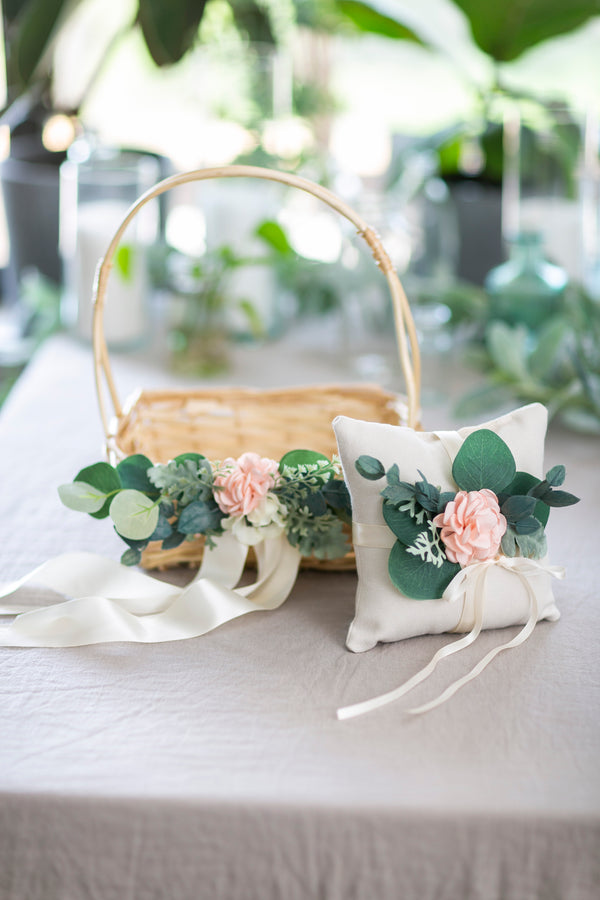 Natural willow flower girl basket & ring pillow set | Adelaide & Milo by Ragga Wedding