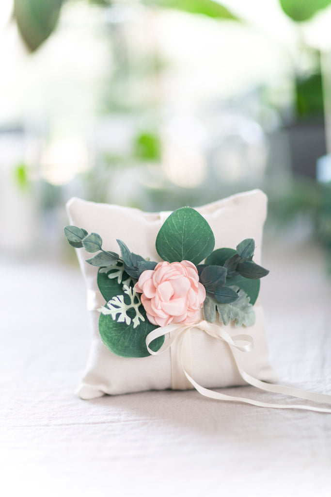 Blush Floral and Eucalyptus Greenery Ring Pillow | Wedding Ring Cushion by Ragga Wedding