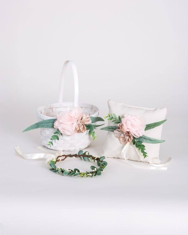 Kala, Isla & Kai Matching Set | Flower Girl Basket, Ring Pillow & Crown Set
