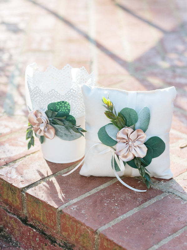 modern flower girl basket - white metal pail
