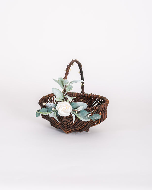 Willow Flower Girl Basket by Ragga Wedding | GRACE Woven Organic Flower Girl Basket