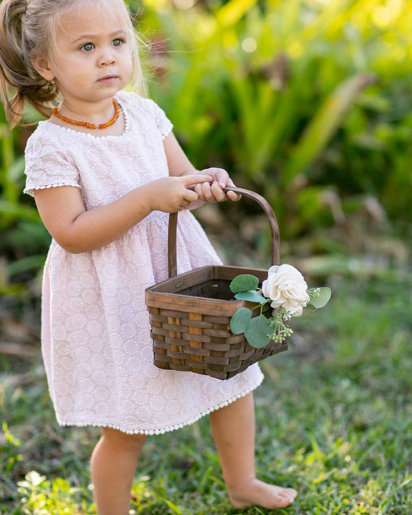 Maisy | Walnut Woven Flower Girl Basket