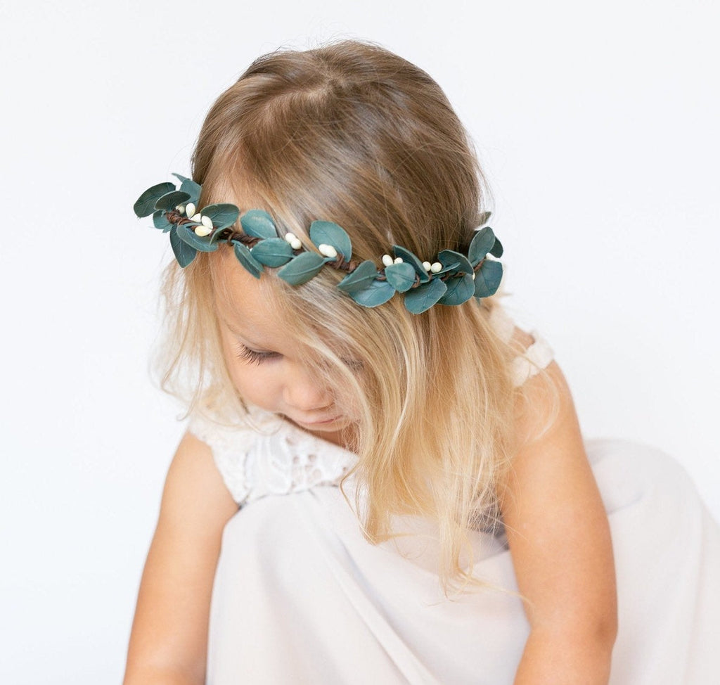 Eucalyptus Leaf Flower Crown | Flower Girl Hair Piece