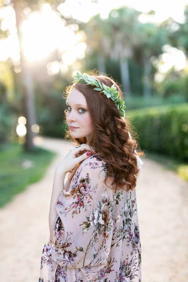 Citron: Citrus Inspired Greenery Crown /  Wedding Greenery Halo