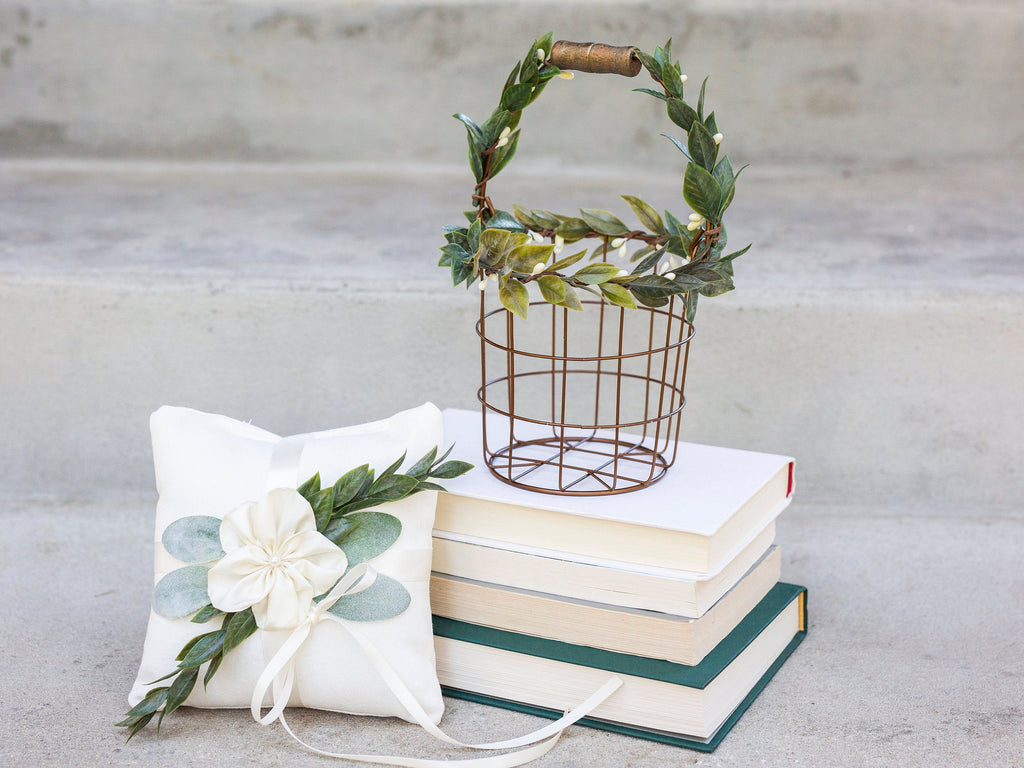 Eleanor & Asher: Modern Bronze Flower Girl Basket & Ring Pillow