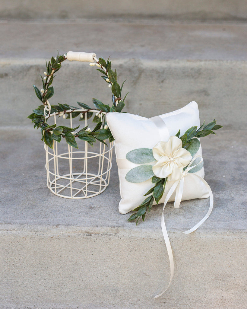 Eleanor & Asher: Flower Girl Basket & Ring Pillow Set