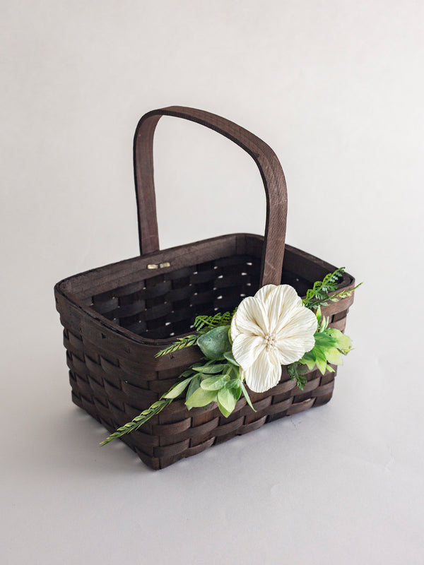 Modern Wood flower girl basket by Ragga Wedding