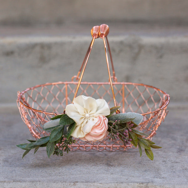 Penelope | Rose Gold Flower Girl Basket